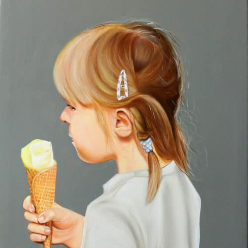 Portrait of a little girl with ice cream